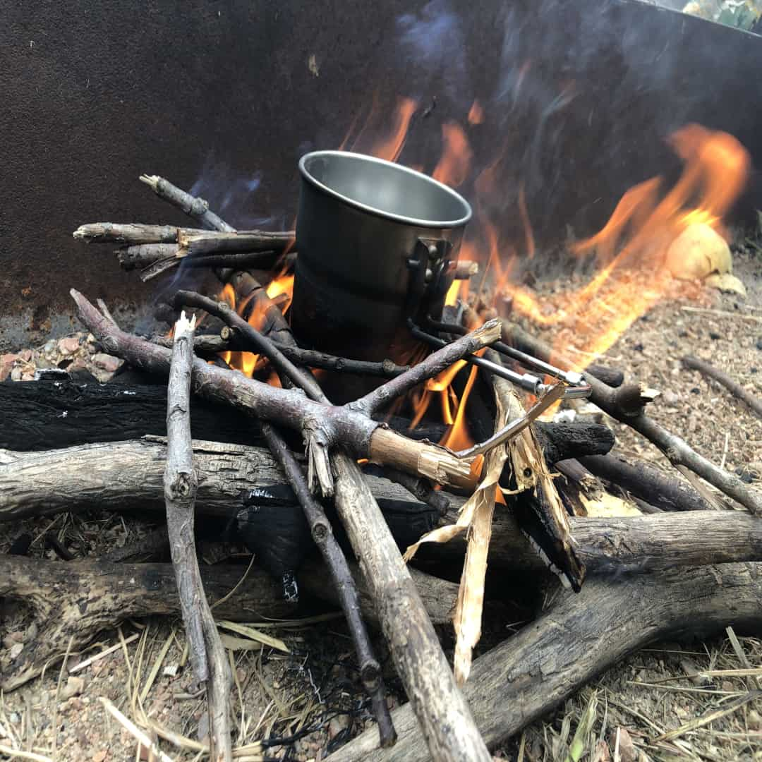 This fire was assembled and started with a Morakniv bushcraft knife