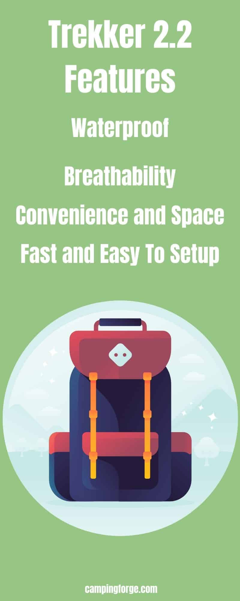 An infographic product features for the best backpacking tent for a tall person the Trekker 2.2