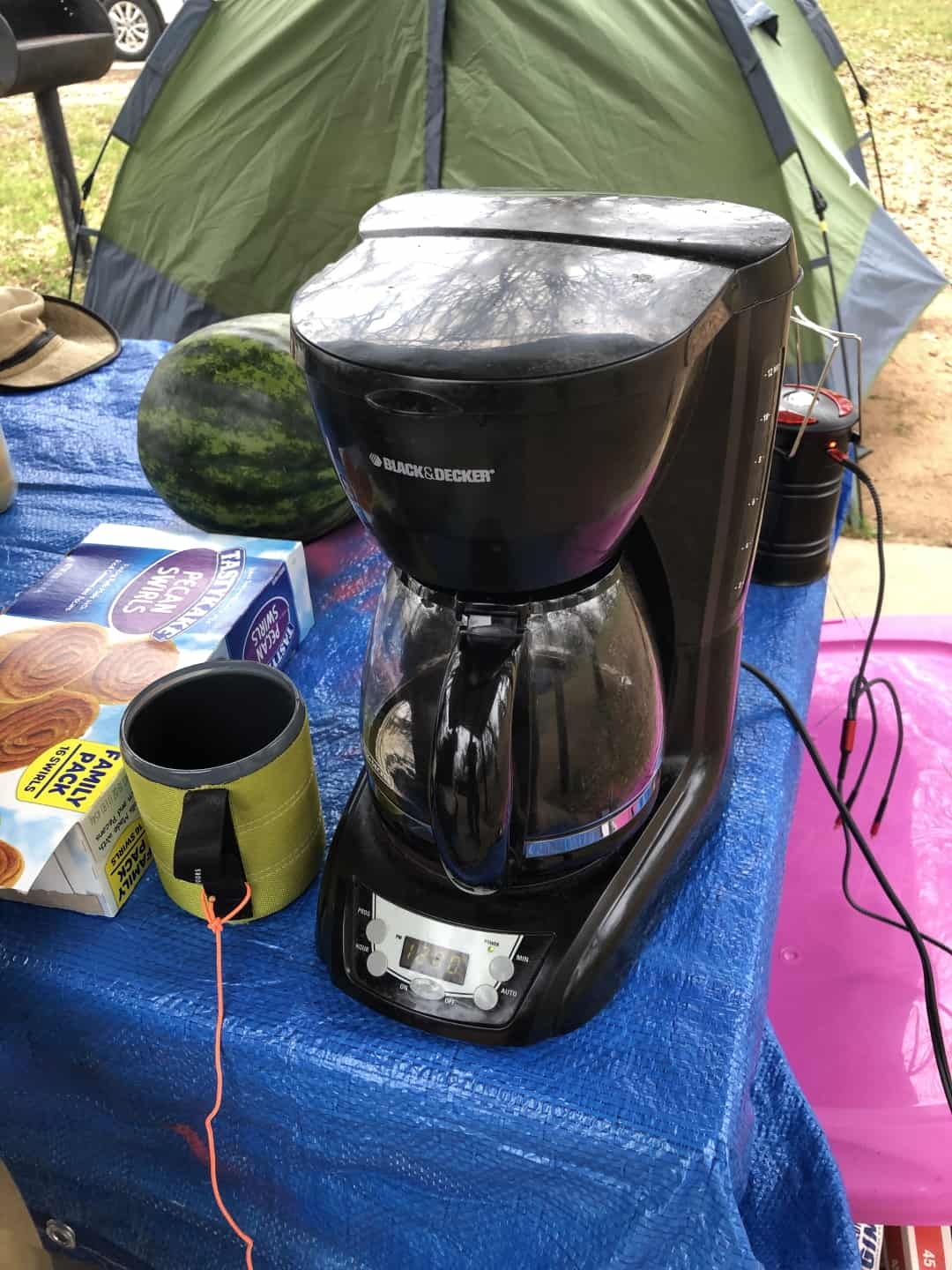 Electric drip coffee maker at a campsite that had electricity