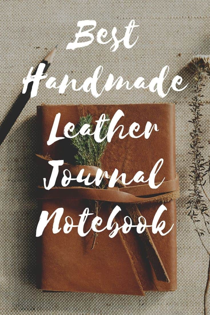 Pinterest image for Handmade Leather Journal Notebook