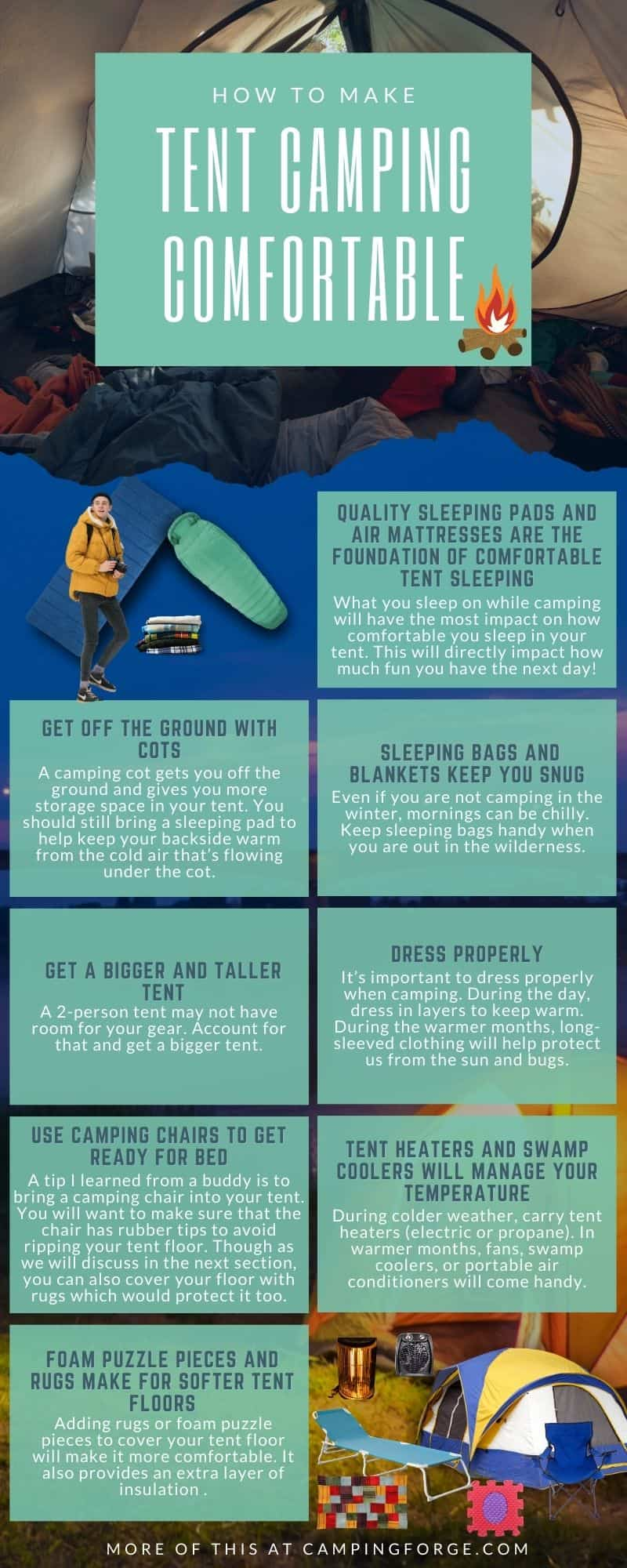 Infographic on how to make tent camping comfortable