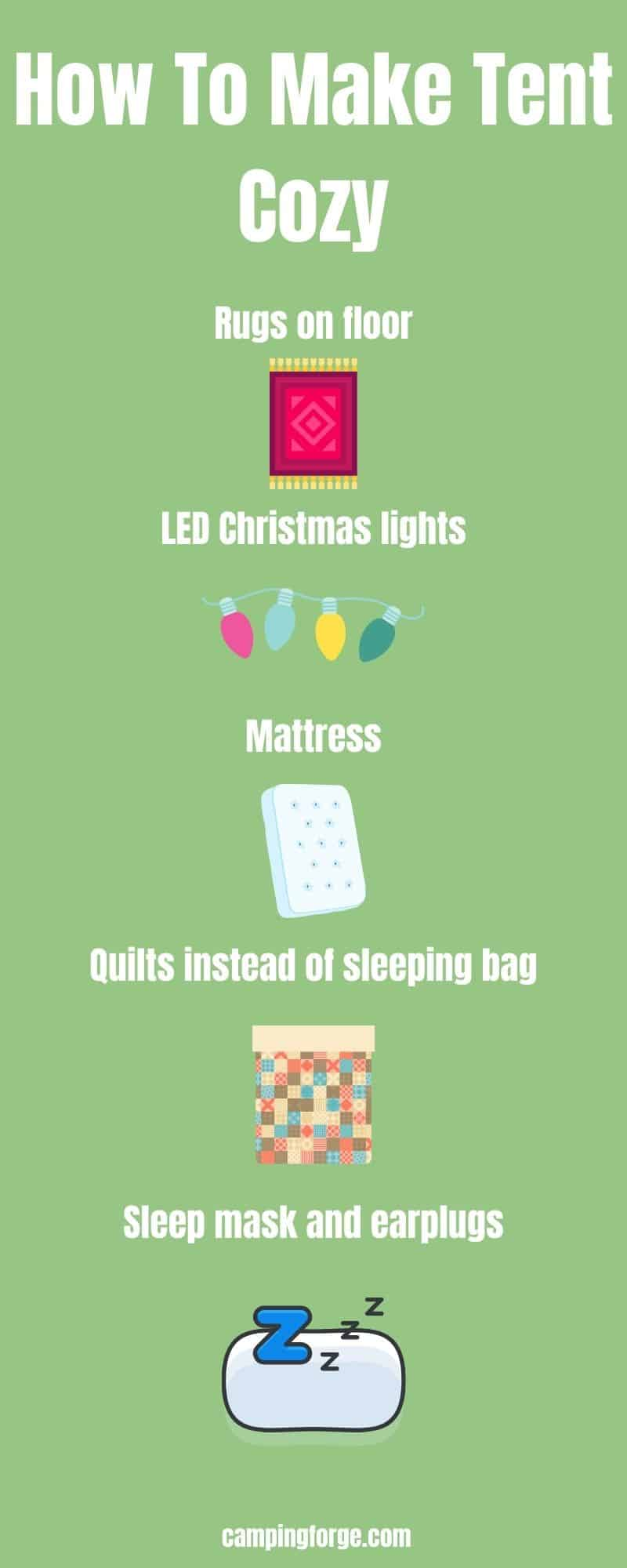 An infographic on how to make your tent cozy