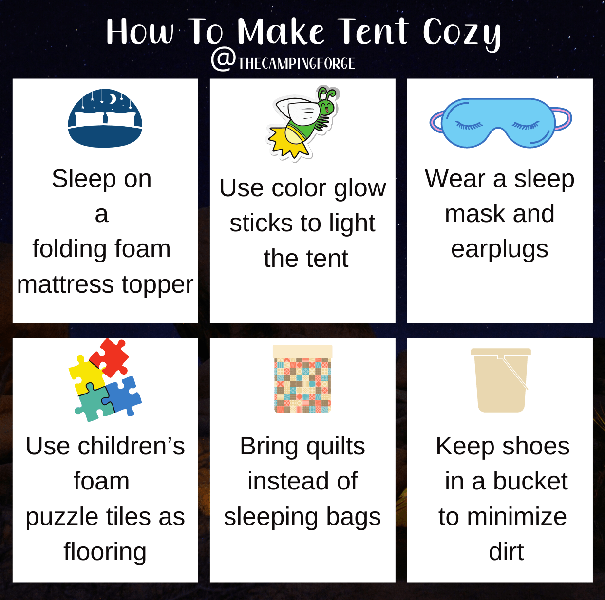 How to keep your tent cozy infographic
