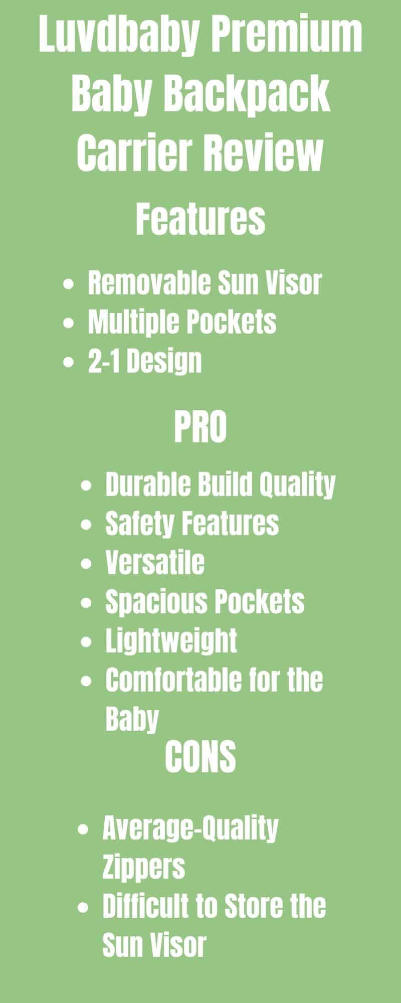 An infographic Review Of Luvdbaby Premium Baby Backpack Carrier