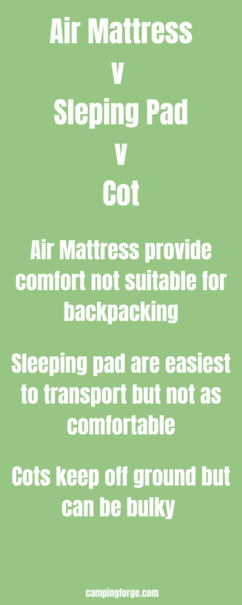 An infographic comparing air mattreses to sleeping pads to cots for camping and backpacking