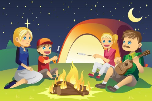 A cartoon illustration of car camping trip.