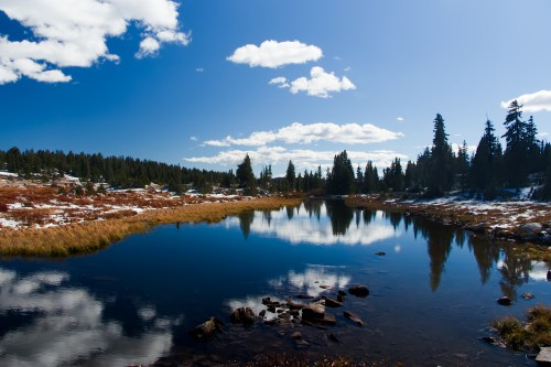 visit Yellowstone National Park to go hiking in the beautiful forests, lakes, and trails.
