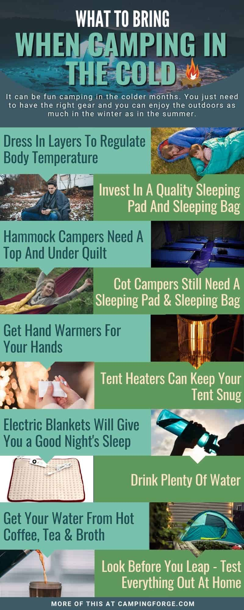 Infographic on how to camp in the cold